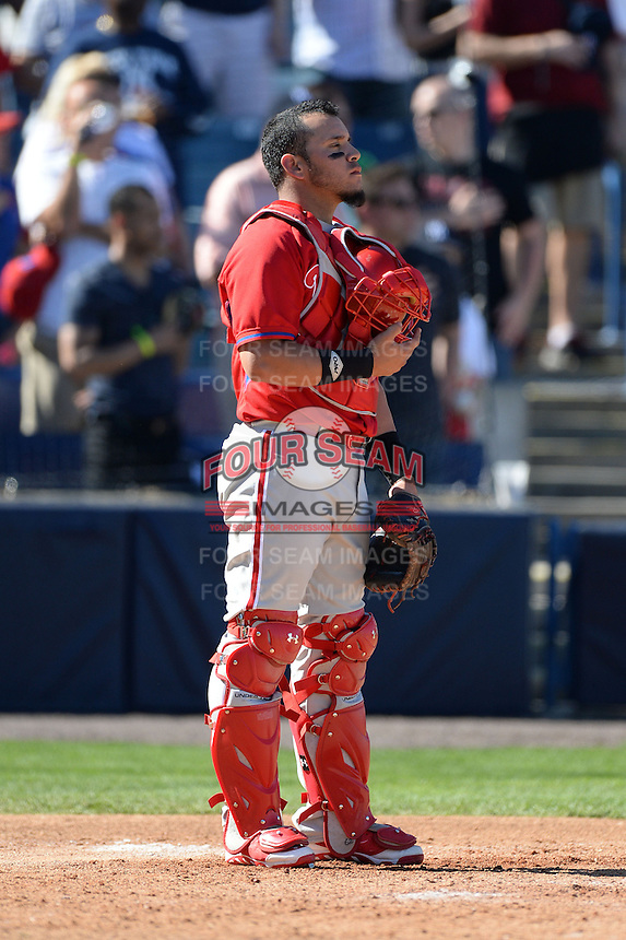 "Philadelphia Phillies catcher Sebastian Valle (62) during ""God Bless America"" in the seventh inning stretch during a spring training game against the New York Yankees on March 1, 2014 at Steinbrenner Field in Tampa, Florida.  New York defeated Philadelphia 4-0.  (Mike Janes/Four Seam Images)"