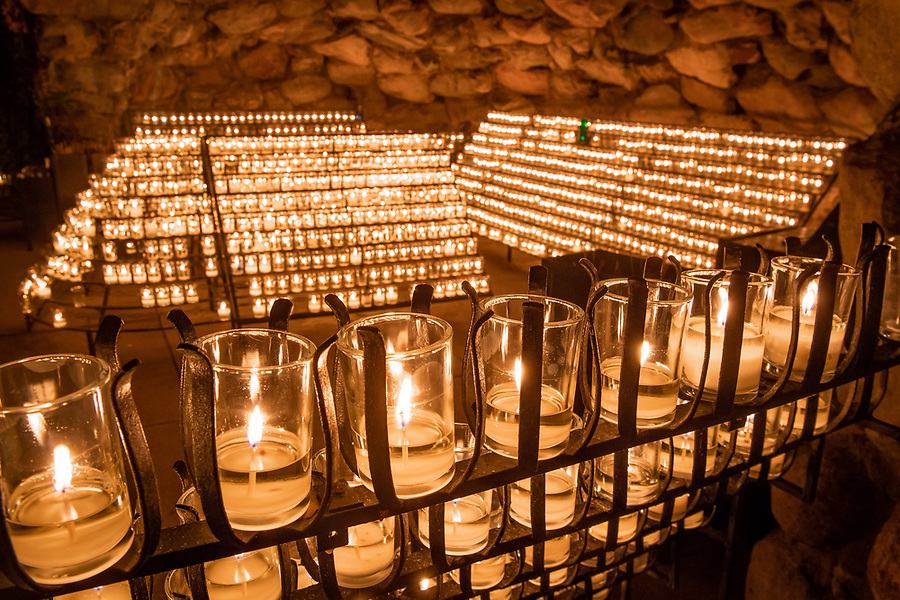 August 19, 2018; Grotto candles (Photo by Matt Cashore/University of Notre Dame)
