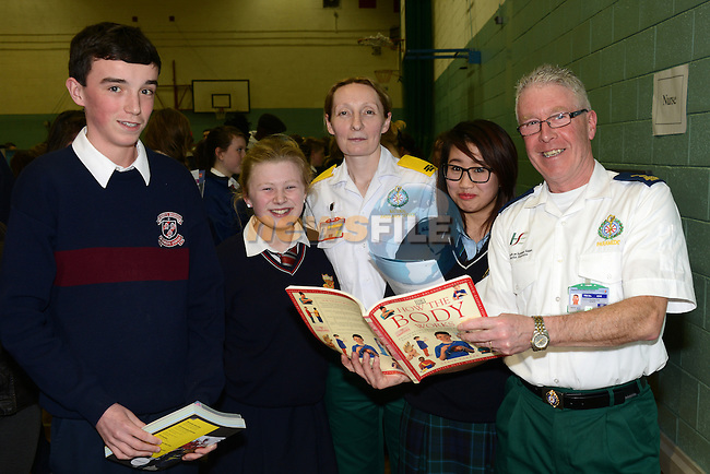 Luke Tuohey, Niamh O'Flaherty, Fiona Guildea of the National Ambulance Service, Kura Dun of Greenhills and paramedic PJ O'Brien at the careers night in St. Mary's Diocesan School. www.newsfile.ie
