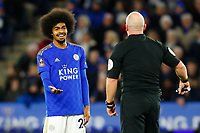 4th January 2020; King Power Stadium, Leicester, Midlands, England; English FA Cup Football, Leicester City versus Wigan Athletic; Hamza Choudhury of Leicester City complains to Referee Simon Hooper after he fails to book Joe Williams of Wigan Athletic after a foul - Strictly Editorial Use Only. No use with unauthorized audio, video, data, fixture lists, club/league logos or 'live' services. Online in-match use limited to 120 images, no video emulation. No use in betting, games or single club/league/player publications