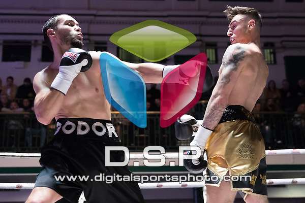 Bradley Smith vs Ivan Godor 4x3 - Welterweight contest During Goodwin Boxing - Strike Force. Photo by: Simon Downing.<br /> <br /> Saturday March 10th 2018 - York Hall, Bethnal Green, London, United Kingdom.