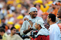 04 October 2008: Denver Nuggets NBA and Olympic basketball star player Carmelo Anthony watches the Texas vs Colorado game from the sideline. The Texas Longhorns defeated the Colorado Buffaloes 38-14 at Folsom Field in Boulder, Colorado. For Editorial Use Only