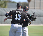 (L-R) Marcell Ozuna, Ichiro Suzuki (Marlins),<br /> FEBRUARY 17, 2017 - MLB :<br /> Miami Marlins spring training baseball camp in Jupiter, Florida, United States. (Photo by AFLO)