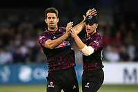 Tim Groenewald of Somerset celebrates taking the wicket of Cameron Delport during Essex Eagles vs Somerset, Vitality Blast T20 Cricket at The Cloudfm County Ground on 7th August 2019