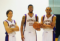 Dec. 16, 2011; Phoenix, AZ, USA; Phoenix Suns guard Steve Nash (left), forward Markieff Morris (center) and forward Grant Hill pose for a portrait during media day at the US Airways Center. Mandatory Credit: Mark J. Rebilas-