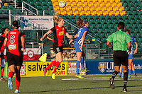Rochester, NY - Friday June 24, 2016: Western New York Flash midfielder Samantha Mewis (5), Boston Breakers defender Julie King (8) during a regular season National Women's Soccer League (NWSL) match between the Western New York Flash and the Boston Breakers at Rochester Rhinos Stadium.