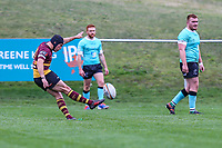 Louis Grimoldby of Ampthill Rugby kicks during the Greene King IPA Championship match between Ampthill RUFC and Nottingham Rugby on Ampthill Rugby's Championship Debut at Dillingham Park, Woburn St, Ampthill, Bedford MK45 2HX, United Kingdom on 12 October 2019. Photo by David Horn.