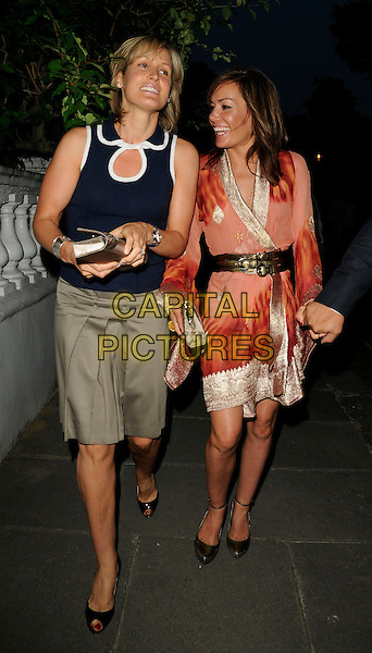 SANTA SEBAG MONTEFIORE & TARA PALMER TOMKINSON .Leaving Sir David Frost's Summer Party, Carlyle Square, London, England, UK,  2nd July 2009..full length tpt family sister sisters orange gold silk sleeves tie dye dress navy and white top beige khaki skirt black shoes belt silver obi wrap kimono .CAP/CAN.©Can Nguyen/Capital Pictures