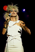Montreal (Qc) CANADA - circa 1988 -File Photo -<br /> <br /> Marjolaine Morin in concert.<br /> <br /> <br /> Marjolaine Morin (born 2 August 1953 in Montreal, Quebec), professionally known as Marjo, is a francophone Canadian singer-songwriter. After singing in two musicals of Francois Guy, Marjo joined the band Corbeau in 1979, two years after the group was started by Pierre Harel.<br /> <br /> Her solo career began shortly after Corbeau disbanded with the theme song for the film La Femme de l'hotel which earned a Genie Award for Best Original Song in 1985. In 1986, her debut album Celle qui va sold more than 250 000 copies.<br /> <br /> -Photo (c)  Images Distribution