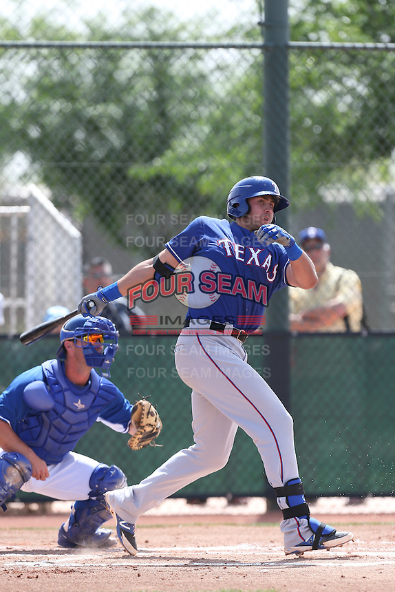 Joey Gallo #33 of the Texas Rangers bats during a Minor League Spring Training Game against the Kansas City Royals at the Kansas City Royals Spring Training Complex on March 20, 2014 in Surprise, Arizona. (Larry Goren/Four Seam Images)