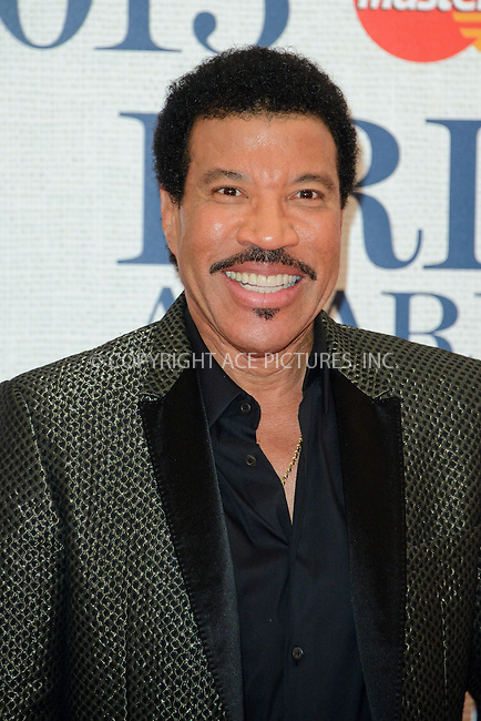 WWW.ACEPIXS.COM<br /> <br /> February 25 2015, London<br /> <br /> Lionel Richie arriving at the Brit awards 2015 at the O2 Arena on February 25 2015 in London<br /> <br /> By Line: Famous/ACE Pictures<br /> <br /> <br /> ACE Pictures, Inc.<br /> tel: 646 769 0430<br /> Email: info@acepixs.com<br /> www.acepixs.com