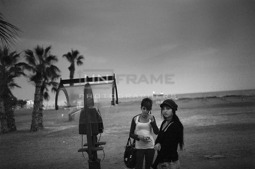 Two young Greek Cypriot women near the beach in Larnaca