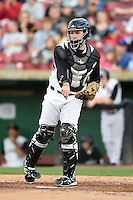 Kane County Cougars catcher Victor Caratini (2) throws down to third during a game against the Quad Cities River Bandits on August 14, 2014 at Third Bank Ballpark in Geneva, Illinois.  Kane County defeated Quad Cities 4-1.  (Mike Janes/Four Seam Images)