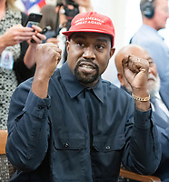Kanye West makes a statement to the media as he meets with United States President Donald J. Trump and Jim Brown in the Oval Office of the White House in Washington, DC on Thursday, October 11, 2018.<br /> Credit: Ron Sachs / CNP /MediaPunch