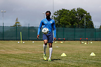 23rd May 2020; United Select HQ, Richings Sports Park, Iver, Bucks, England, United Select HQ exclusive Photo shoot session; Lucas Sinclair, former Millwall academy player, wearing a neckwarmer to cover mouth during training drills