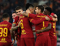 Football, Serie A: AS Roma - Brescia FC, Olympic stadium, Rome, November 24, 2019. <br /> Roma's Chris Smalling (center left) celebrates after scoring with his teammates during the Italian Serie A football match between Roma and Brescia at Olympic stadium in Rome, on November 24, 2019. <br /> UPDATE IMAGES PRESS/Isabella Bonotto