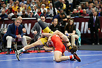 CLEVELAND, OH - MARCH 16: Yianni Diakomihalis, of Cornell, wrestles Jaydin Eierman, of Missouri, in the 141 weight class  during the Division I Men's Wrestling Championship held at Quicken Loans Arena on March 16, 2018 in Cleveland, Ohio. (Photo by Jay LaPrete/NCAA Photos via Getty Images)