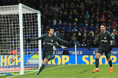 18th March 2018, King Power Stadium, Leicester, England; FA Cup football, quarter final, Leicester City versus Chelsea; Pedro of Chelsea celebrates after scoring as he makes it 1-2 in extra time