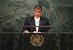. His Excellency Rafael Correa, President of the Republic of Ecuador<br /> <br /> <br /> General Assembly Seventieth session 9th plenary meeting: High-level plenary meeting of the (6th meeting)