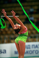 "Dora Vass of Hungary re-catches ribbon at 2008 World Cup Kiev, ""Deriugina Cup"" in Kiev, Ukraine on March 22, 2008."