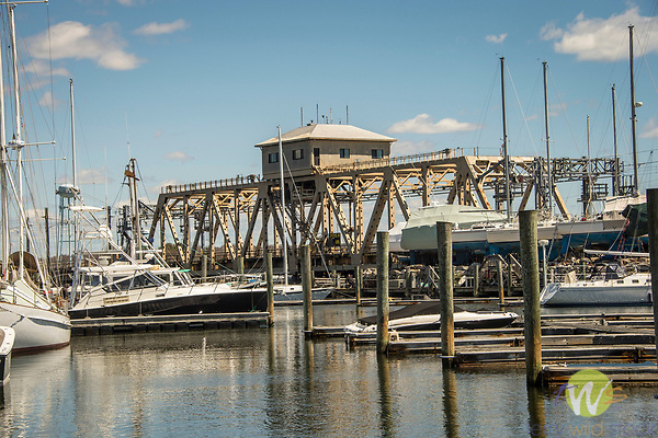 Mystic Harbor swing bridge.
