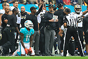 1st October 2017, Wembley Stadium, London, England; NFL International Series, Game Two; Miami Dolphins versus New Orleans Saints; DeVante Parker of the Miami Dolphins looks to see if he made a first down