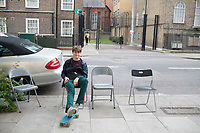 Felix outside the gallery. Free Architecture at the Chalton Gallery, London, England, Great Britain