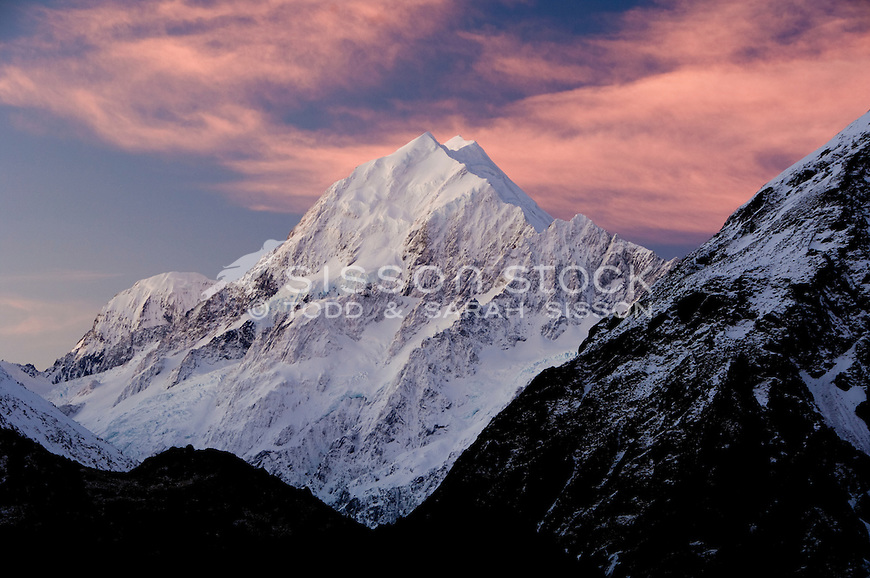 Aoraki / Mt Cook at sunset, viewed form near the hermitage hotel. South Canterbury, New Zealand.