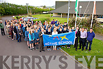 Colaiste na Sceilge have been awarded the first Active Blue Flag for post primary schools in Kerry pictured here at the flag raising ceremony on Tuesday were front l-r; John O'Connor(Principal), Cathal O'Donovan(TY), Gillian O'Connor(Teacher & project Co-ordinator), Shane O'Neill(Teacher & Basket Ball Coach), Declan Moran(TY),Graham O'Sullivan(TY), Fiona Garvey(PE Teacher), Darren Frehill(RTE Sports Broadcaster), Jack O'Connor(Teacher & Football Coach) & Buddy O'Shea along with 1st, 2nd year students and parents.