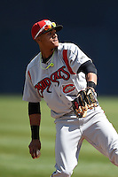 Carolina Mudcats shortstop Erik Gonzalez (10) during a game against the Frederick Keys on April 26, 2014 at Harry Grove Stadium in Frederick, Maryland.  Carolina defeated Frederick 4-2.  (Mike Janes/Four Seam Images)