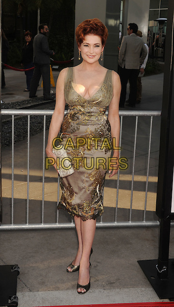 Carolyn Hennesy.'True Blood' Season 5 Los Angeles Premiere at ArcLight Cinemas Cinerama Dome, Hollywood, California, USA..May 30th, 2012.full length gold beige print dress clutch bag.CAP/ROT/TM.© TM/Roth/Capital Pictures
