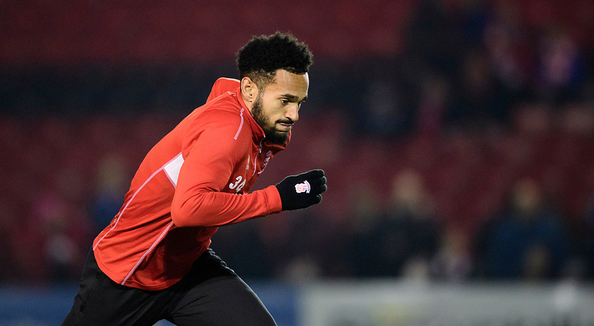 Lincoln City's Jordan Roberts during the pre-match warm-up<br /> <br /> Photographer Chris Vaughan/CameraSport<br /> <br /> The EFL Sky Bet League Two - Lincoln City v Exeter City - Tuesday 26th February 2019 - Sincil Bank - Lincoln<br /> <br /> World Copyright © 2019 CameraSport. All rights reserved. 43 Linden Ave. Countesthorpe. Leicester. England. LE8 5PG - Tel: +44 (0) 116 277 4147 - admin@camerasport.com - www.camerasport.com