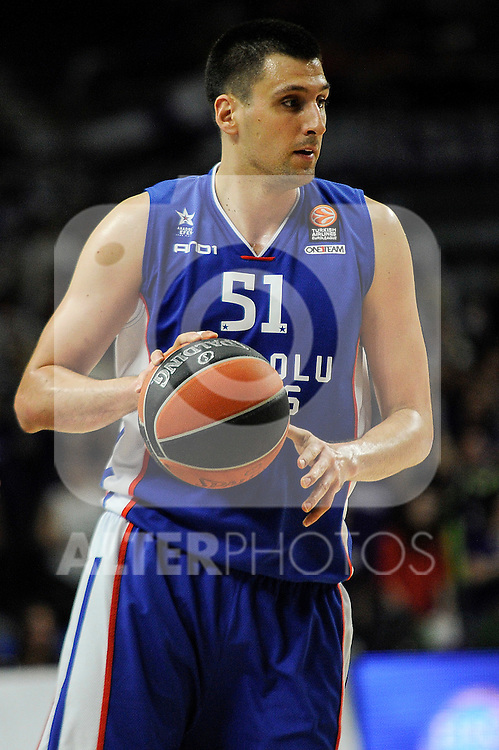 Anadolu Efes´s Milko Bjelica during 2014-15 Euroleague Basketball Playoffs match between Real Madrid and Anadolu Efes at Palacio de los Deportes stadium in Madrid, Spain. April 15, 2015. (ALTERPHOTOS/Luis Fernandez)