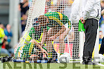 Darran O'Sullivan Kerry inured in the Dublin goalmouth after scoring Kerry's first goal against  Dublin in the All Ireland Senior Football Semi Final at Croke Park on Sunday.