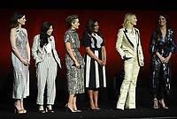 LAS VEGAS, NV - APRIL 24: (L-R) Actors Anne Hathaway, Awkwafina, Sarah Paulson, Mindy Kaling, Cate Blanchett, Sandra Bullock onstage during the Warner Bros. Pictures presentation at CinemaCon 2018 at The Colosseum at Caesars Palace on April 24, 2018 in Las Vegas, Nevada. (Photo by Frank Micelotta/PictureGroup)