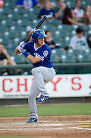 Oklahoma City Dodgers catcher Austin Barnes (3) at bat during the Pacific Coast League baseball game against the Round Rock Express on June 9, 2015 at the Dell Diamond in Round Rock, Texas. The Dodgers defeated the Express 6-3. (Andrew Woolley/Four Seam Images)
