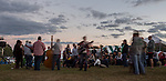 After the power went out on Saturday just as the sun was setting, a few musicians started an impromptu circle of dancing, singing, and music playing. Photo by Katelyn Vancouver.