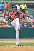 Pat Dean (15) of the New Britain Rock Cats pitches during a game against the Altoona Curve at New Britain Stadium on July 23, 2014 in New Britain, Connecticut.  Altoona defeated New Britain 8-5. (Gregory Vasil/Four Seam Images)