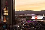Sunset images of TMobile Arena in Las Vegas Nevada