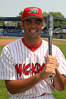 July 11, 2005:  Third Baseman Mike Costanzo of the Batavia Muckdogs during a game at Dwyer Stadium in Batavia, NY.  The Muckdogs are the Short Season Class-A affiliate of the Philadelphia Phillies.  Photo By Mike Janes/Four Seam Images