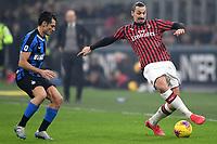 Antonio Candreva of FC Internazionale , Zlatan Ibrahimovic of AC Milan <br /> Milano 09/02/2020 Stadio San Siro <br /> Football Serie A 2019/2020 <br /> FC Internazionale - AC Milan <br /> Photo Andrea Staccioli / Insidefoto