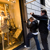 Il FuoriSalone 2010 nelle vie di centrali Milano, Via Sant'Andrea..Ilary Blasi paparazzata in via Sant'Andrea nel negozio di Chanel durante il FuoriSalone a Milano..Ilary Blasi Francesco Totti wife photographed in Sant'Andrea street during the shopping in central streets in Milan, during the International furniture show.