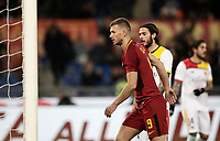 Calcio, Serie A: AS Roma - Benevento, Roma, stadio Olimpico, 11 gennaio 2018.<br /> Roma's Edin Dzeko celebrates after scoring during the Italian Serie A football match between AS Roma and Benevento at Rome's Olympic stadium, February 11, 2018.<br /> UPDATE IMAGES PRESS/Isabella Bonotto
