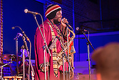 Durham, North Carolina - Friday May 6, 2016 - Kamasi Washington talks to the audience during his performance Friday night at The Armory during the Art of Cool Festival in Durham.