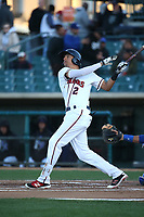 Jonathan Daza (2) of the Lancaster JetHawks bats against the Rancho Cucamonga Quakes at The Hanger on April 20, 2017 in Lancaster, California. Lancaster defeated Rancho Cucamonga 4-0. (Larry Goren/Four Seam Images)