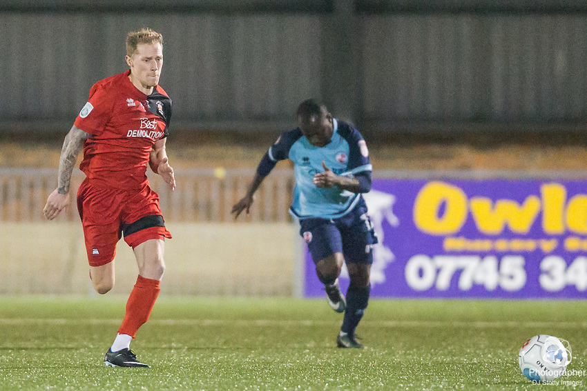 Kane Wills (Eastbourne) with Kaby Djalo (Crawley) in pursuit during Parafix Sussex Senior Cup Quarter Final between Eastbourne Borough FC & Crawley Town FC on Tuesday 09 January 2018 at Priory Lane. Photo by Jane Stokes (DJ Stotty Images)