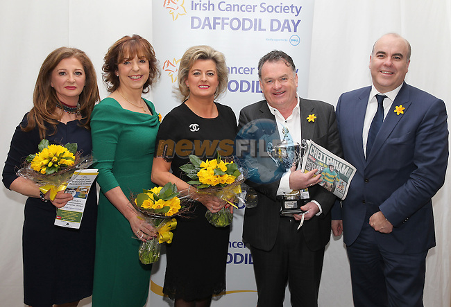 Karen Healy, Orlaith Carmody, Maeve Smith, Bernard Woods and Giles Belton during the Daffodil Day Lunch in the Westcourt Hotel on Friday 13th March 2015.<br /> Picture:  Thos Caffrey / www.newsfile.ie