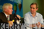 Fergal Quinn and Jerry Kennelly speaking at the Young Entrepreneur Blue Sky Day in the Brandon Hotel on Friday.