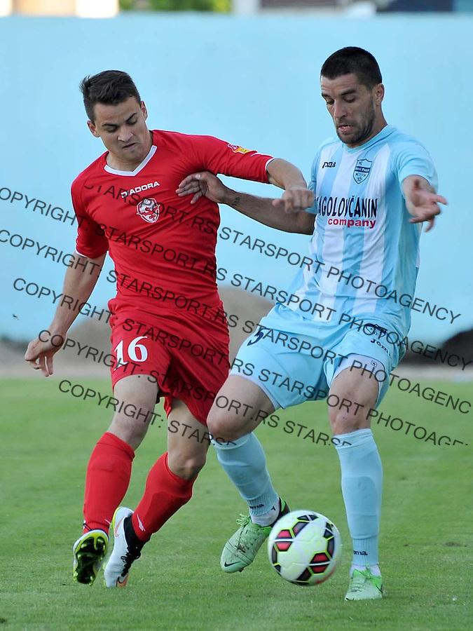 Fudbal Super liga season 2014-2015<br /> Novi Pazar v Vozdovac<br /> Miroljub Kostic (#5) u duelu sa Todor Petrovic (#6)<br /> Novi Pazar, 13. 5. 2015<br /> foto: Emir Sadovic/Starsportphoto &copy;