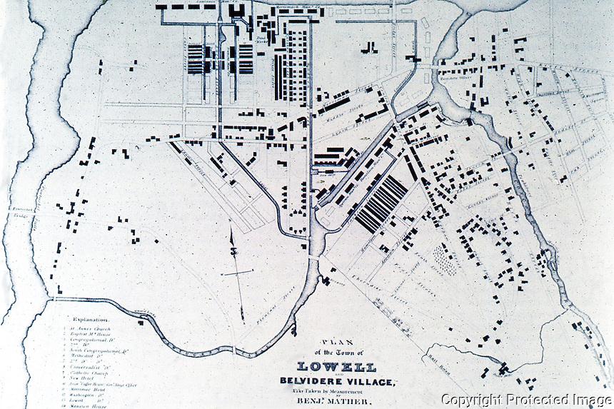 Utopia:  Lowell MA.  Plan 1832.  REPS., MAKING OF URBAN AMERICA, fig. 247.
